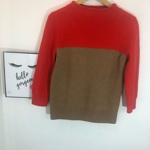 J Crew orange brown colorblock mockneck sweater.